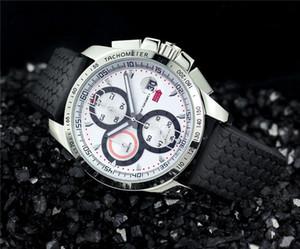 Nouveau style de luxe mens montres de sport chronographe montre-bracelet à quartz chronomètre montres en caoutchouc