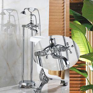Großhandel und Einzelhandel Chrome Boden Stehen Telefon Stil Badewanne Wasserhahn Badewanne Füllstoff Boden