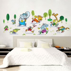 Elephant Animal Running Race Wall Stickers Living Room Bedroom Wall Decals Stickers Cartoon Childrens Room Decor Stickers
