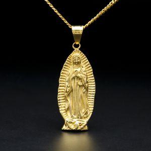 """Dio Santa Madre Vergine Maria di fascino del pendente colore giallo oro con 24"""" catena del bordo cubano collana per uomini e donne"""