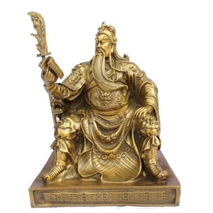 "Chinesische Bronze Messing Dragon Guan Gong / Yu Lesen Buch Statue 10 ""H Gold Farbe"