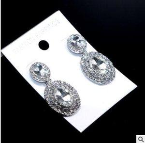 Moda gelinin elmas kristal küpe dolu Vintage lüks elmas küpe dolu iki stilleri iki renk