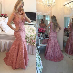 Formal Dress Evening 2018 Pink Lace Appliques Pearl Beaded Deep V Neck Prom Gowns Mermaid Style Open Back Special Occasions Dresses