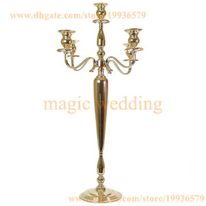"""33"""" de altura 5 Arm Candelabra metal cristal Prismas vitoriana Paris Candlestick no macio ouro e prata"""