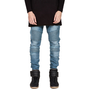 Wholesale Mens Biker Jeans Strench Slim Fit Motorcycle Denim Joggers Man Washed Straight Runway Jeans Trousers LQ009