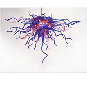 وردي اللون الأزرق والأزرق المنفوخ الزجاج المنفوخ ثريات LED لمبات تصميم بسيط Girls'room Lightings الإنارات