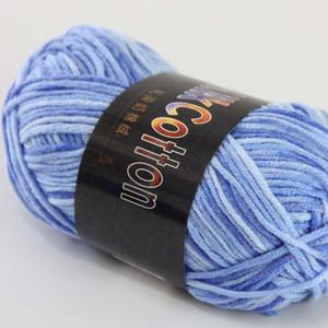 소프트 6ballsx50g NewCotton 염색 손 양모 양말 스카프 Baby Yarn indigo 05