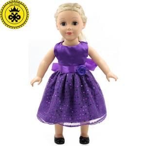 """Accesorios de muñecas Vestido de moño morado Chica americana Ropa de muñecas Se adapta a chica americana 18 """"Muñecas Chica MG-015"""