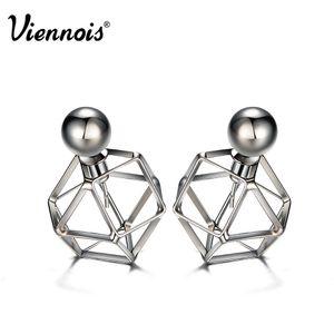 Viennois Gun Color Stud Earrings for Women Vintage Geometric Double Side Earrings Hollow Out Front Back Earrings q170684