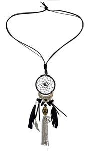 idealway 4 Farben arbeiten Feder Leder Harz-Korn-Traumfänger-Legierung Flügel Kette Quaste Anhänger lange Halskette