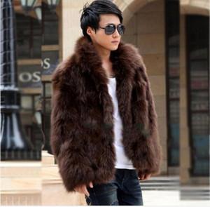 Yeni Moda Kış Faux Kürk erkek Ceket Hoodies Kürk Ceket Kahverengi Beyaz Erkekler Uzun Kollu Giyim Kış Giyim
