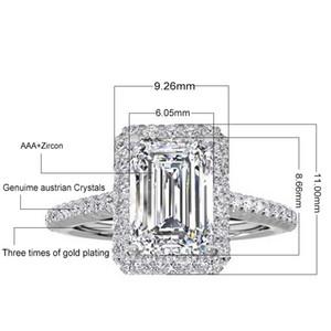 Yeni! Gerçek 925 Ayar Gümüş Düğün Zümrüt Kesim Yüzük Kadınlar için Gümüş Nişan Yüzüğü Takı N64
