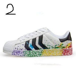 2017 Cheap Wholesale Men's Women's New Classic Fashion Superstars Rainbow Low Top Zapatillas Deportivas Sneaker Shoes 36-44