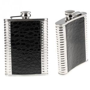 Atacado-8oz de aço inoxidável de couro Liquor Hip Flask Presente Dia dos Pais 9.5 * 2.2 * 13.5CM