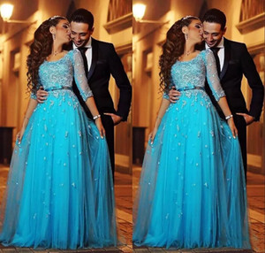 Blue Lace Arabic Evening Dresses Scoop Half Sleeves A-line Tulle Prom Dresses Vintage Cheap Formal Evening Gowns