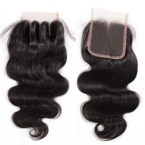 8A бразильские девственные человеческие волосы кружева закрытия прямые тела волна закрытия 4x4 размер бесплатно / средний / 3 Способ часть бразильского кружева закрытия естественный цвет