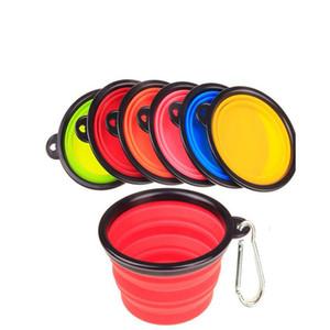 Pet Dog Bowls Alimentador de Agua Floding Silicona Frisbee Plegable de Viaje Travel Bowl Dish Cats Bowl Dog Supplies 6 Colores