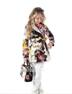 Capispalla per bambini stampa totem Ragazze doppio petto giacca a vento con cappuccio Tench all'ingrosso