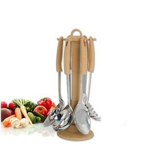 Nouveau en acier inoxydable de 7 pièces Outils Ustensiles de cuisine Cuire Ustensile de cuisine avec égouttoir Slotted cuillère à soupe manquant fourra DEC241