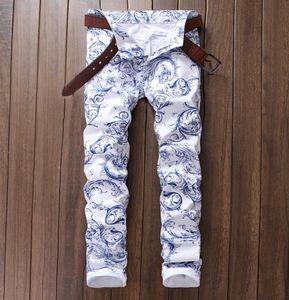 Wholesale- Men's Fashion Slim Fit White Spray Flower Print Jeans Male Casual White Cotton Pants US Size 29-38