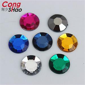 200 pcs 14mm Ronde Acrylique Strass Supérieur Taïwan cristal Plat Retour Perles Bijoux accessoires Aucun trou ZZ140