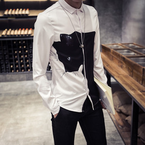 Al por mayor-2016 Nueva Moda 3D Print Animal Camisas Hombres Negro / Blanco Digital Print Cat Camisas de manga larga Slim Fit Hombres camisas casuales 5XL