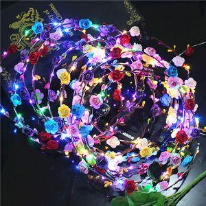 LED Noiva Mulheres Flor Coroa Faixa de Cabelo Casamento Floral Headband Garland Festival Fita Arco Flor Grinalda Cocar