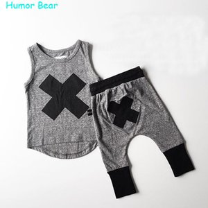 Wholesale- Humor Bear 2016 baby Boys girls clothes Casual Clothing Sets Children's Suit sleeveless Blouse+Haroun pants Summer kids set