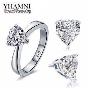 YHAMNI Set di gioielli da sposa originali per le donne Real 925 sterling silver cuore cz diamante orecchini anello set di gioielli da sposa TZ002