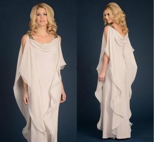 Chic Boho Mãe Da Noiva Chiffon Vestidos de Cintas de Espaguete Sem Mangas Árabe Mãe de Vestidos de Noiva Vestidos de Noite Vestidos Formais