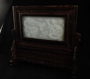 FINE CHINESE WOOD INRAID AFGANISTÁN JADE TWO DRAGONS SCREEN