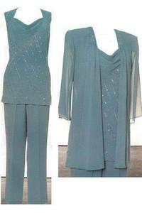 Long Sleeves Ink Blue 2018 Mutter der Braut Pant Suits Chiffon Plus Size Hosenanzug Günstige Formal Wear Anzug Mütter der Braut Kleider