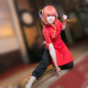 Kagura Cosplay Kostüme rote cheongsam schwarze Hose japanische Anime Gintama Kleidung Maskerade / Karneval / Karneval Kostüme