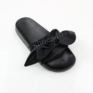 (С коробкой + мешок для пыли) Оптовая дешевая новая новая Rihanna Leadcat X Fenta Bandana слайд женские бантики тапочки крытые дамы модные сандалии размер 36-41