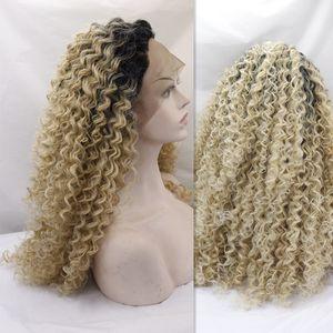 Synthetische Lace Front Perücke Günstige Perücken Afro Kinky Curl Blonde Synthetische verworrene lockiges Haar Perücke für schwarze Frauen