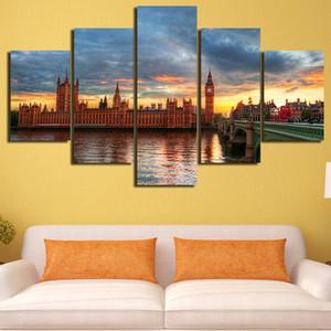 5 Pz / set Incorniciato HD Stampato London Bridge Paesaggio Immagine Wall Print Poster Tela Pittura A Olio Cuadros Decorativos