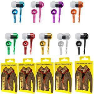 Fermuar Kulaklık Kulaklık 3.5mm Jack Bass Kulaklık Kulak Zip Kulaklık paketi ile Samsung Telefon PC MID Ipod MP3-MP4 Player için