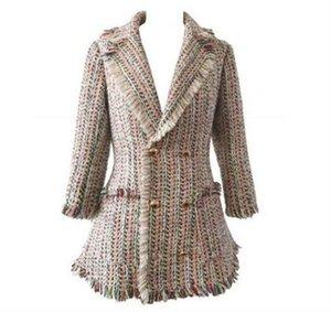 Женщины зима сплетенный бархат сексуальный пр дамы бутик кисточкой роскошный известный модный бренд ретро толстые дамы тонкий тонкий пиджак