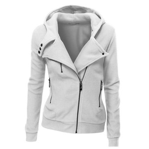 OLGITUM HOCHWERTIGE Baumwolle Jacke Langarm Mode Frühling Hoodies Herbst Frauen Reißverschluss Casaco Feminino Mäntel B234