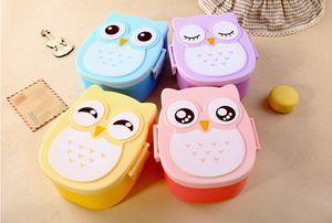 1 PZ Cartoon Owl Lunch Box Cibo Frutta Contenitore di immagazzinaggio Portatile di plastica Lunchbox Bento Box con Cucchiaio Forchetta posate Set O 0339