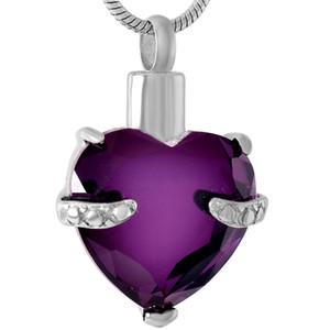 IJD8072 graciosa cinzas de coração roxo colar cremação memorial lembranças lembranças com frete grátis