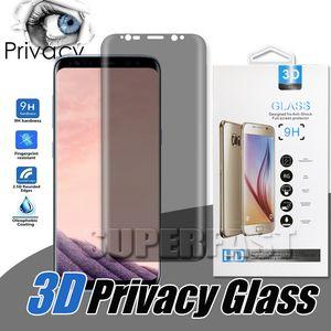 Caso Amigável Privacidade Anti-Spy Peeping Vidro Temperado Protetor de Tela 3D Curvo Para Samsung Note9 Samung nota 8 S8 S9 Mais S7 borda Com Caixa