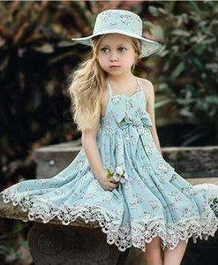 Büyük yay Dantel giyim ile Kız dantel titreyerek elbise CUHK çocuk Prenses Yaz Çiçek baskı Elbise Çocuk Kız Kolsuz Elbise