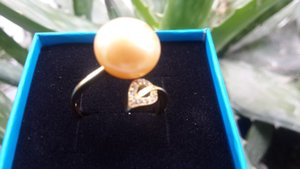 genuine natural huge 13mm golden sea south pearl yellow gold ring Mosaic Natural zircon 14k plated size 7 8 9 with box