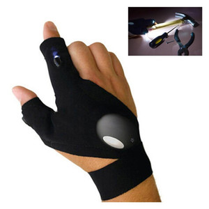 New 2 LED Light Flashlight Cycling Gloves Torch Magic Strap LED Glove For Repairing and Working Outdoor Sporting Camping Hiking Finger Light