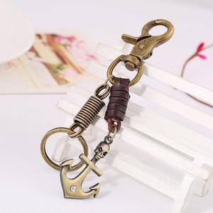 Retro Vintage Çapa Anahtarlık Çanta Kolye Alaşım Deri Araba Anahtarlık Halka Tutucu Takı Anahtarlık Anahtarlıklar