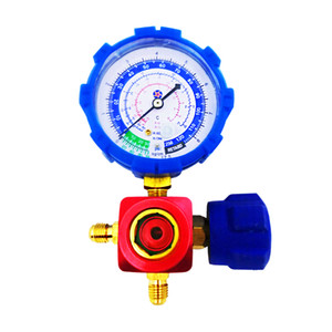 Freeshipping Heavy-duty Alunimum Alloy Valve Body Single Manifold Gauge Refrigerant Table Tools WJ-468G-SL 1 4