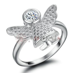 Yoursfs Angel Wing Ring Silver Genuine Austria Crystal Cute Fairy Rings For Women Jewelry Girlfriend Wife Mother Wedding Party