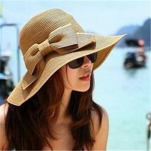 Hot Sale 3 couleur paille Chapeau de soleil avec Bowtie femmes Floppy large Église Brim chapeaux pare-soleil d'été plage Hat Accessoires Bucket