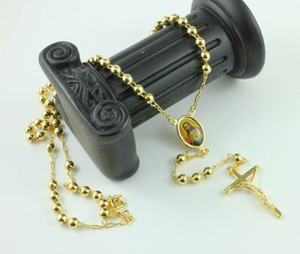 18K Real Yellow Gold Rosaire Prier Perle Le Saint-Esprit Jesus Cross Collier / chaîne dans une boîte cadeau Pas satisfait du remboursement